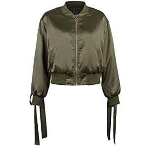 Jackets & Blazers - Lace Up Satin Bomber Jacket